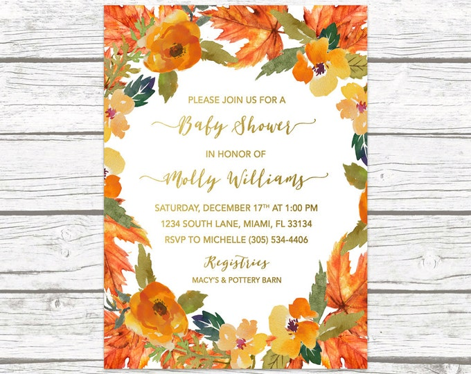 Fall Baby Shower Invitation, Fall Leaves Baby Shower Invitation, Gender Neutral Invitation, Rustic Fall Baby Shower Invitation, Fall Invite