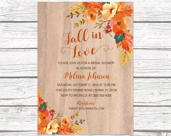 Rustic Fall Bridal Shower Invitation, Fall in Love Bridal Shower Invitation, Fall Leaves Invitation, Fall Bridal Shower Invite