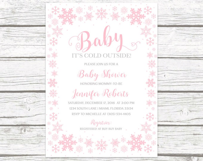 Baby It's Cold Outside Baby Shower Invitation Girl, Pink Snowflake Baby Shower Invitation, Winter Wonderland Baby Shower, Winter Baby Shower