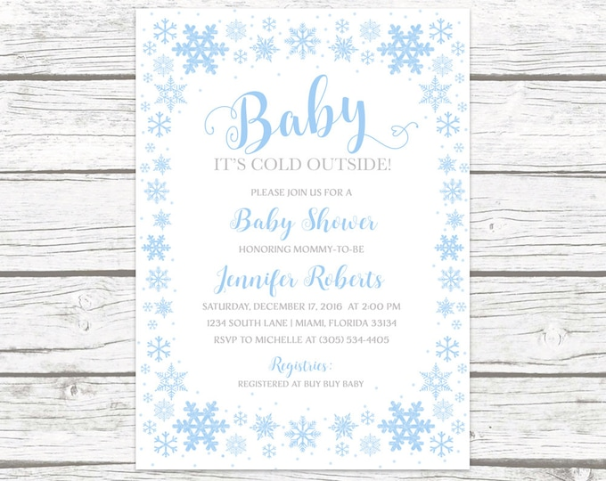 Baby It's Cold Outside Baby Shower Invitation Boy, Blue Snowflake Baby Shower Invitation, Winter Wonderland Baby Shower, Winter Baby Shower