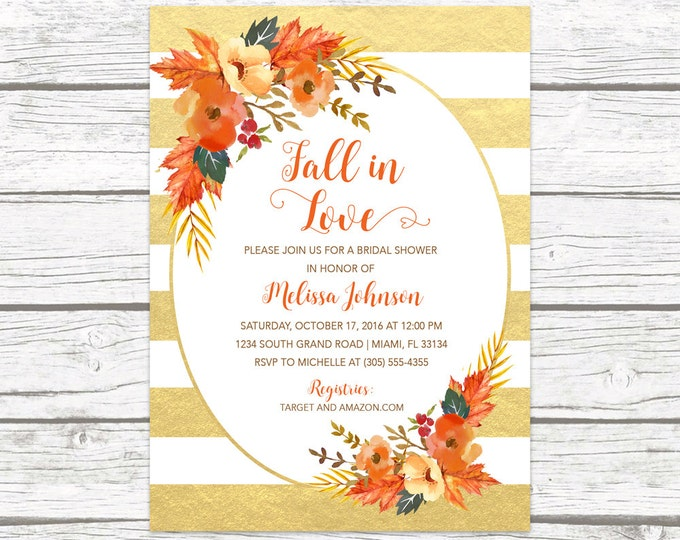 Fall in Love Bridal Shower Invitation, Fall Leaves Bridal Shower Invitation, Falling in Love, Fall Bridal Shower Invitation, Fall Floral