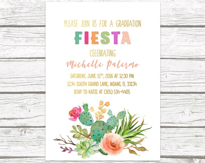 Fiesta Graduation Invitation, Cactus Graduation Invitation, Graduation Party Invitation, Graduation Fiesta Invitation, Cactus Invite