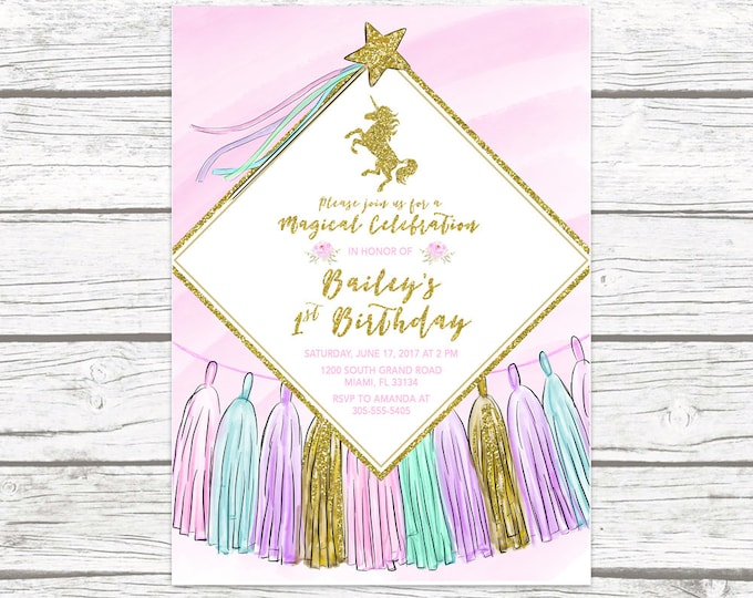 Unicorn Invitation, Unicorn Birthday Invitation, Girl 1st First Birthday Party Invitation, Pastel Tassel Gold Glitter Printable Invitation