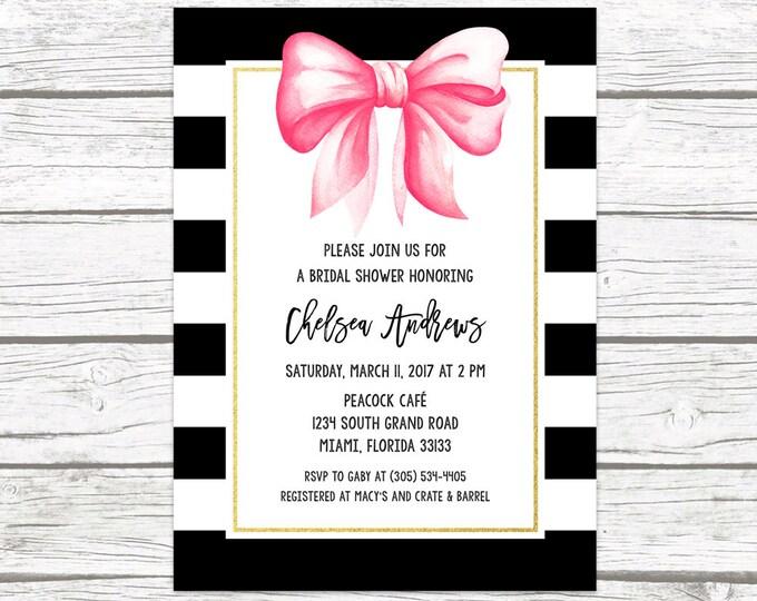 Bridal Shower Invitation, Bow Bridal Shower Invitation, Black and White Bridal Shower Invitation, Stripe Bridal Shower Invite, Printable