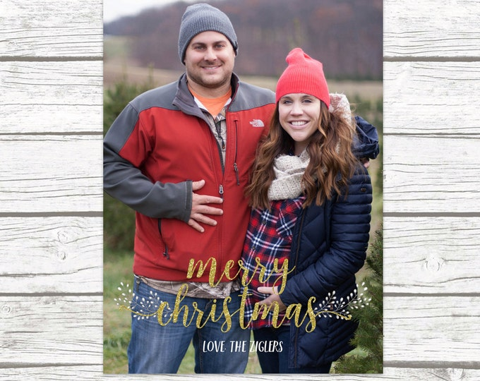 Christmas Holiday Photo Card, Gold Glitter Laurel Card, Personalized Printable Christmas Card, Printed Christmas Card
