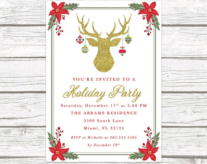 Christmas Party Invitation, Reindeer Christmas Party Invitation, Holiday Party Invitation, Antler Holiday Party Invite, Holly Invitation