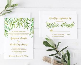 Leaf Wedding Invitation, Watercolor Leaf Wedding Invitation, Rustic Wedding Invitation, Bohemian Wedding Invite, Printed