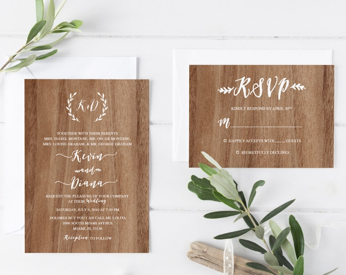 Rustic Wedding Invitation, Wood Wedding Invitation, Boho Laurel Wedding Invite, Printable Wedding Invitation Suite