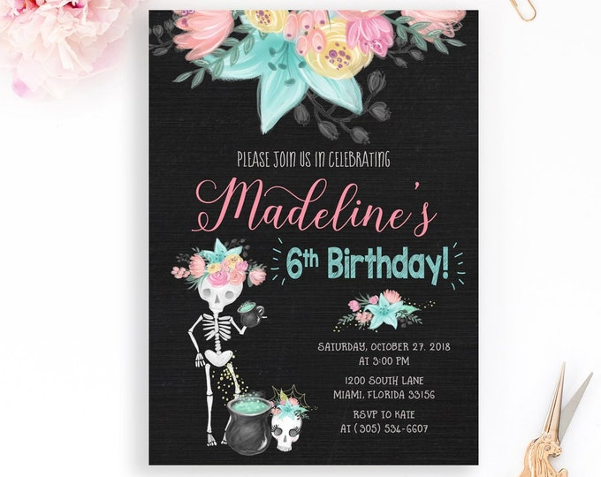 Skeleton Invitation, Girl Halloween Birthday Invitation, Dia de los Muertos Invitation, Skeleton Birthday Invitation, Girl First Birthday