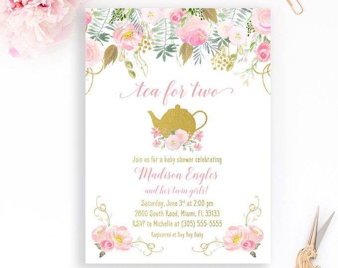 Tea for Two Baby Shower Invitation, Twin Girl Baby Shower Invitation, Tea Baby Shower Invite, Pink and Gold Baby Shower Invitation