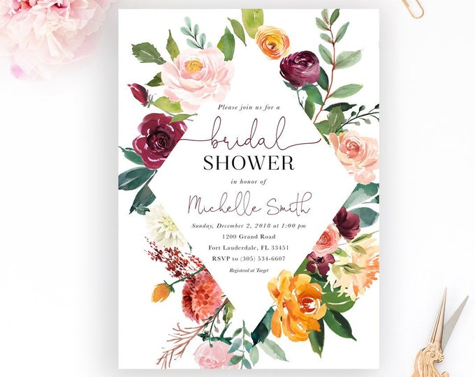 Fall Bridal Shower Invitation, Fall in Love Bridal Shower Invitation, Burgundy Floral Bridal Shower Invitation, Falling in Love Invitation