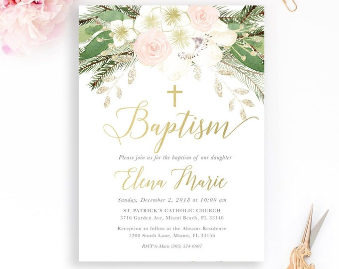 Baptism Invitation, Pink and White Floral Baptism Invitation, Christening Invitation, Girl Baptism Invitation, Winter First Communion