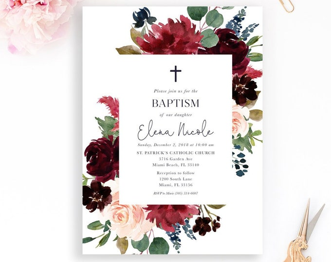 Burgundy Baptism Invitation, Christening First Communion, Fall Baptism Invitation, Winter Baptism Invite, Burgundy Geometric Baptism Girl