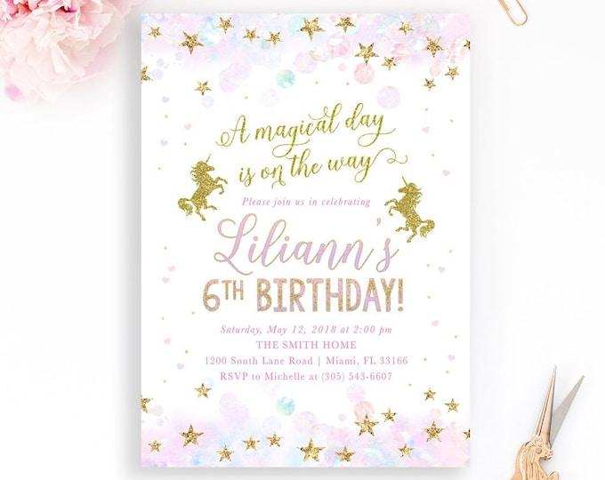 Unicorn Birthday Invitation, Magical Birthday Invitation, Pastel Unicorn Invitation, Girl 1st First Birthday Party Invitation, Rainbow