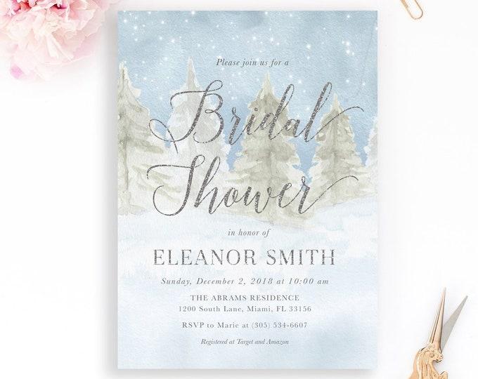 Winter Wonderland Invitation, Rustic Winter Invitation, Winter Bridal Shower Invitation, Woodland Bridal Shower Silver Glitter Wedding