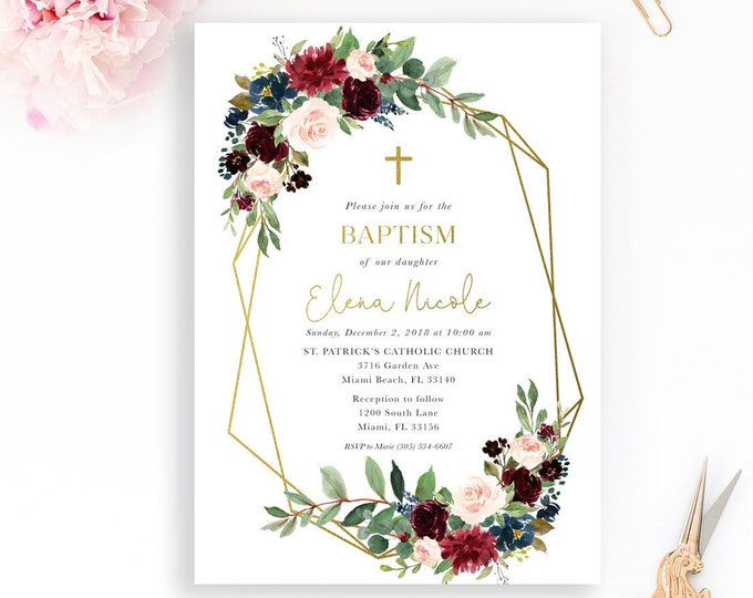 Geometric Baptism Invitation, Burgundy Baptism Christening First Communion, Fall Baptism Invitation Winter Baptism Invite, Gold Baptism Girl