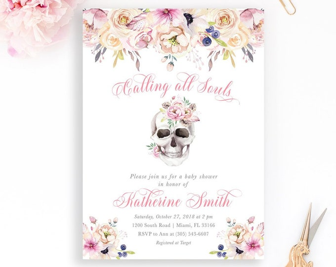 Dia de los Muertos Baby Shower Invitation, Day of the Dead Invitation, Sugar Skull Invitation, Halloween Baby Shower Invitation, Floral Girl