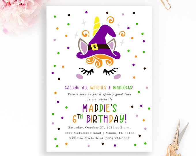 Witch Halloween Invitation, Unicorn Halloween Invitation, Witch Birthday Invitation, Girl 1st First Birthday Invitation, Halloween Invite