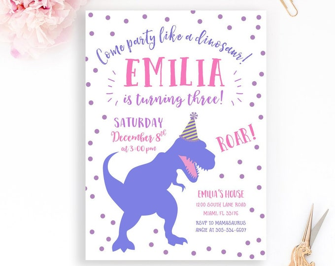 Girl Dinosaur Birthday Invitation, Girl Dinosaur Invitation, Pink and Purple Dinosaur Birthday Party Invite, Girl Dino Birthday Invitation