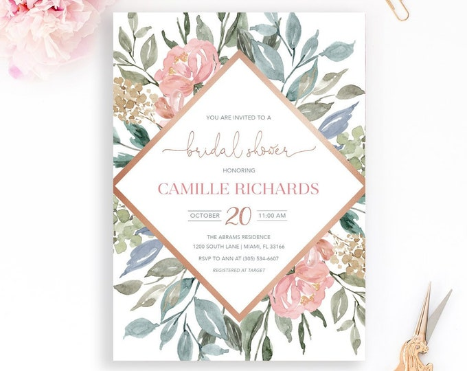 Bridal Shower Invitation, Rose Gold Bridal Shower Invitation, Winter Bridal Shower Invite, Fall Bridal Shower, Wedding Invite