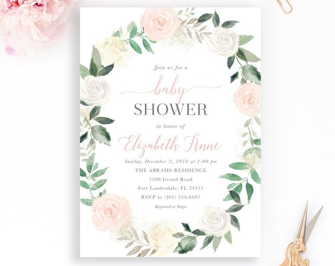 Blush Baby Shower Invitation, Girl Baby Shower Invitation, Garden Baby Shower, Baby Shower Brunch, Pink Floral Baby Shower Invitation