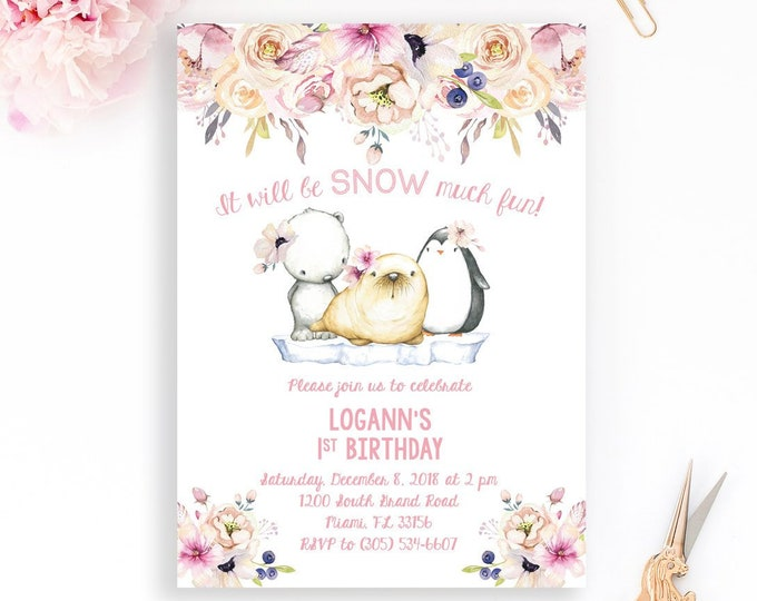 Snow Much Fun Birthday Invitation, Arctic Animals Birthday Invitation, Penguin Polar Bear Birthday, First Birthday Invitation Girl