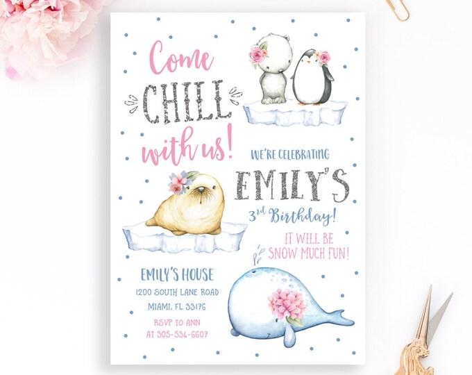 Arctic Animals Birthday Invitation, Snow Much Fun Birthday Invitation, Penguin Polar Bear Birthday, First Birthday Invitation Girl