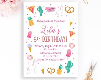 Sweet treats invite etsy treat birthday invitation girl birthday invitation sweets junk food invite donut invitation pineapple unicorn pizza cactus ice cream filmwisefo