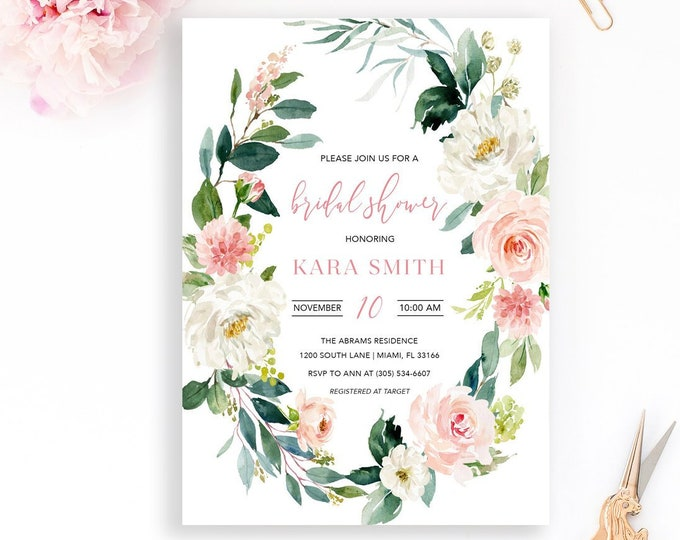 Blush Bridal Shower Invitation, Garden Bridal Shower Invitation, Bridal Shower Brunch, Pink Floral Bridal Shower Invitation