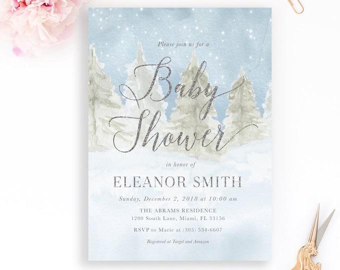 Winter Woodland Baby Shower Invitation, Gender Neutral Baby Shower Invitation, Winter Wonderland Baby Shower, Rustic Winter Baby Shower