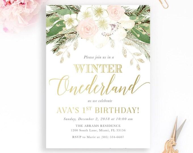 Pink Winter Onederland Invitation, First Birthday Winter Wonderland Invitation, Winter Birthday Invitation, Floral Winter Onederland Invite