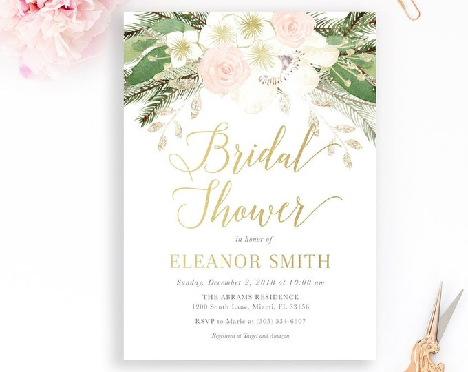 Winter Bridal Shower Invitation, Pink Floral Bridal Shower Invitation, Winter Bridal Shower, Baby It's Cold Winter Wonderland Invite