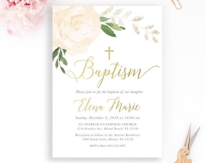Baptism Invitation, White Floral Baptism Invitation, Christening Invitation, Girl Baptism Invitation, Gold Baptism Invite, First Communion
