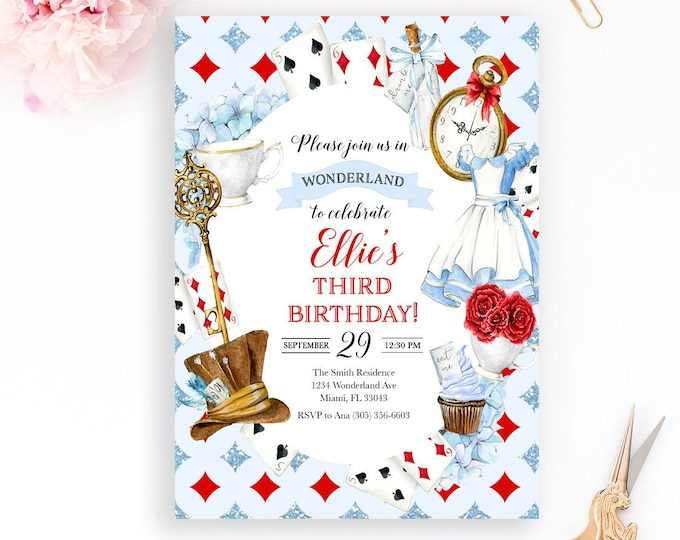Alice in Wonderland Invitation, Wonderland Birthday Invitation, Mad Tea Party Invitation, Onederland Invitation, Girl Birthday Invitation