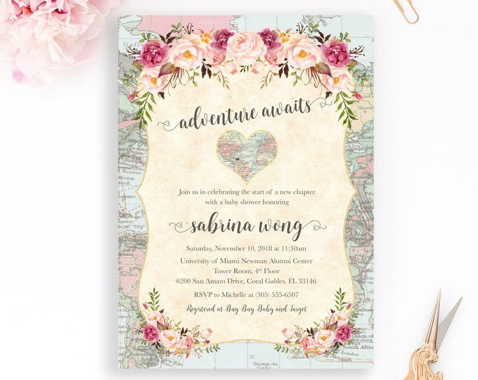 World Baby Shower Invitation, Map Travel Baby Shower Invitation, Adventure Awaits Invitation, Gender Neutral Baby Shower Invite, Pink Floral