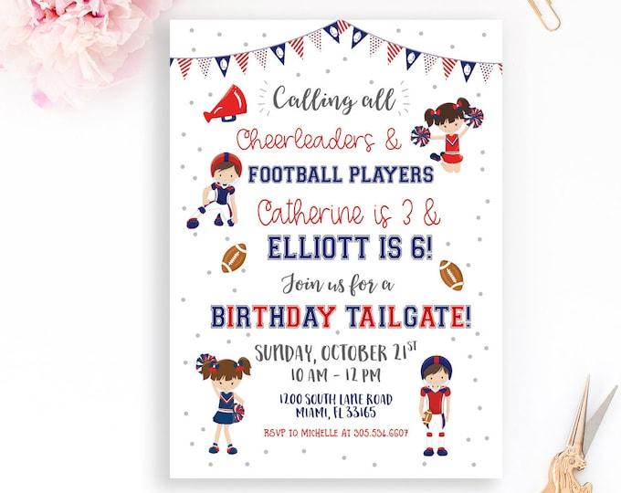 Tailgate Birthday Invitation, Football Birthday Invitation, Cheerleader and Football Player Party Invitation, Boy Girl Joint Birthday Invite