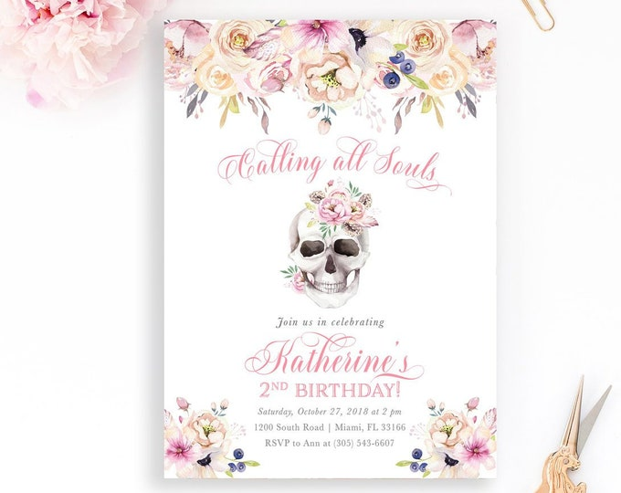 Dia de los Muertos Invitation, Day of the Dead Invitation, Sugar Skull Invitation, Girl Halloween Birthday Invitation, Girl First Birthday