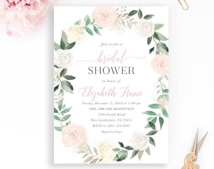Bridal Shower Invitation, Blush Bridal Shower Invitation, Garden Bridal Shower, Bridal Shower Brunch, Pink Floral Bridal Shower Invitation
