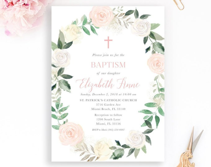 Girl Baptism Invitation, Blush Baptism Invitation, Pink and White Floral Baptism Invitation, Christening Invitation, First Holy Communion