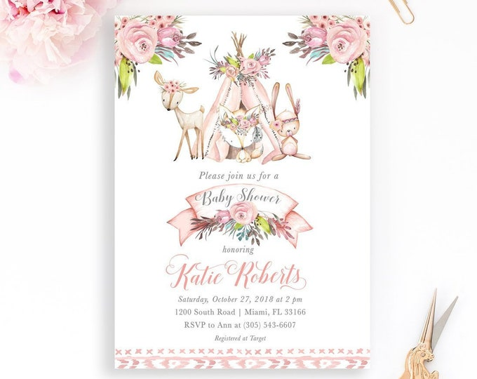 Girl Woodland Animals Baby Shower Invitation, Boho Teepee Baby Shower Invitation, Deer Baby Shower Invitation Girl, Boho Girl Baby