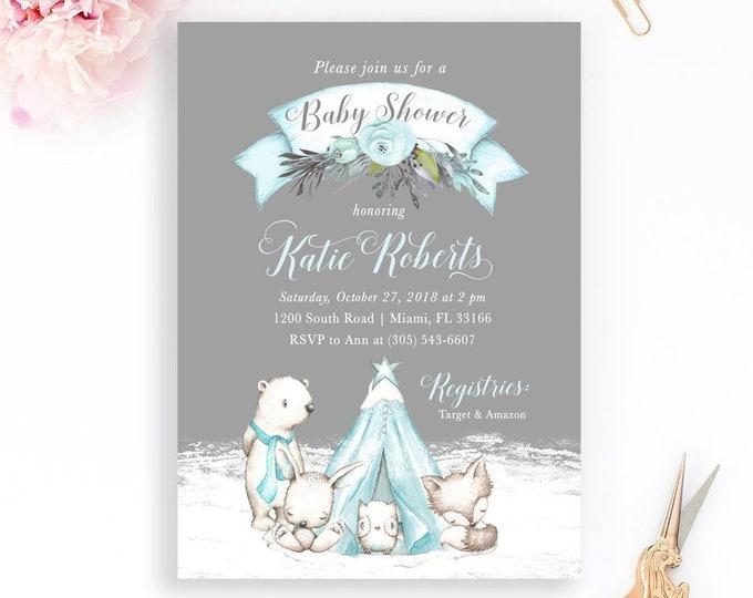 Winter Woodland Invitation, Woodland Baby Shower Invitation, Gender Neutral Baby Shower, Boy Baby Shower, Rustic Winter Baby Shower