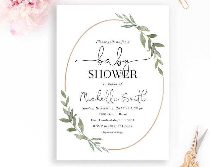 Leaf Baby Shower Invitation, Gender Neutral Baby Shower Invitation, Minimalist Baby Shower Invitation, Rose Gold Baby Shower Invitation