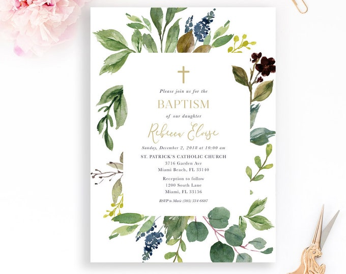 Greenery Baptism Invitation, Boy Baptism Invitation, Christening Invitation, Girl Baptism Invitation, Leaf Baptism Invite