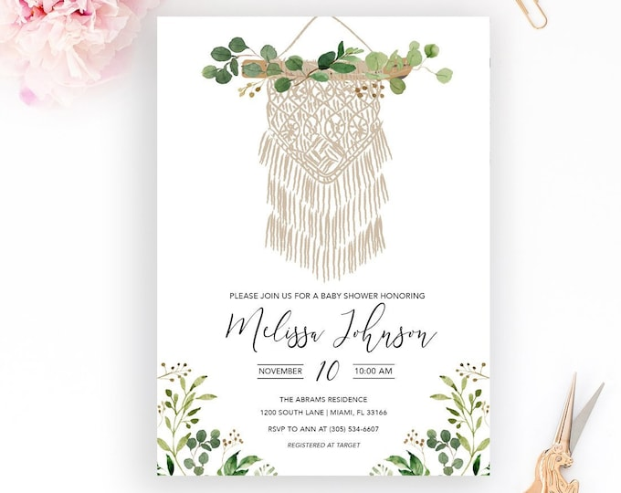 Boho Macrame Baby Shower Invitation, Gender Neutral Baby Shower Invitation, Leaves Blessingway Invitation, Dreamcatcher Baby Shower
