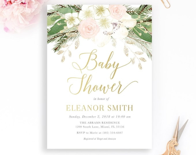 Winter Baby Shower Invitation Girl, Pink Floral Baby Shower Invitation, Winter Baby Shower Girl, Baby It's Cold Invitation Winter Wonderland