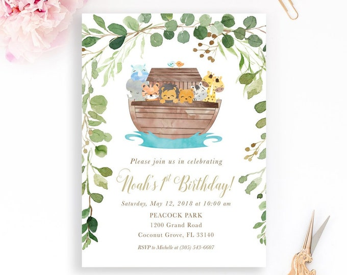 Noah's Ark Birthday Invitation, Noah's Ark Invitation, Boy Birthday Invitation, Noah's Ark First Birthday Invitation, Animal Birthday Invite