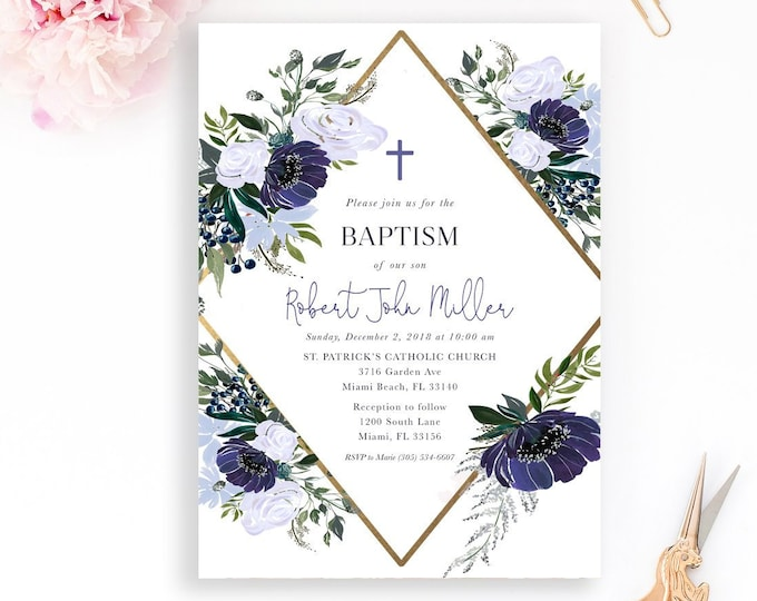 Geometric Baptism Invitation Boy, Christening Invitation, First Communion Invite, Blue Floral Baptism Invite, Winter Baptism Invitation Navy