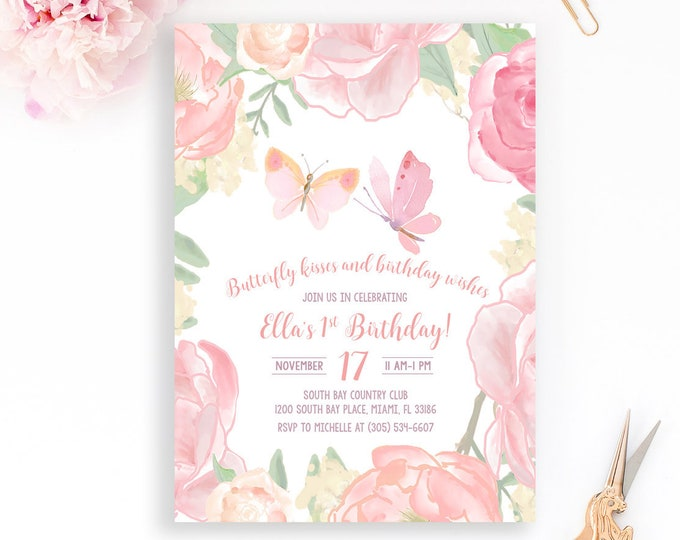 Butterfly Birthday Invitation Pink Floral Girl 1st First