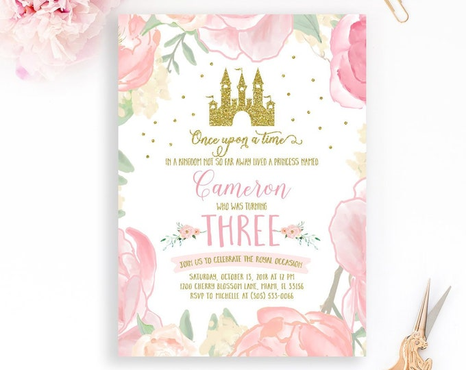 Princess Birthday Invitation, Princess Invitation, Pink and Gold Princess Invite, Gold Glitter, Princess Castle First Birthday Invitation