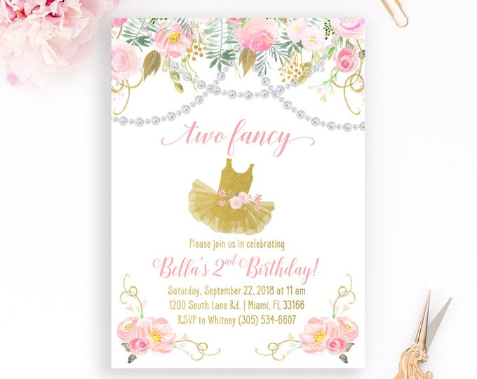 Two Fancy Birthday Invitation, Second Birthday Invitation, Tea Party Birthday Invitation, Pearls Invite, Pink and Gold Birthday Invitation